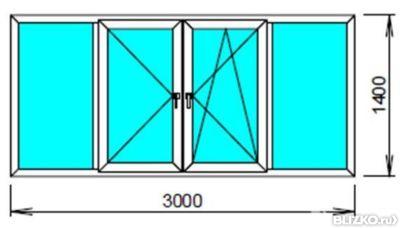 Лоджия четырехстворчатая пвх exprof двухкамерная3000х1400 м.